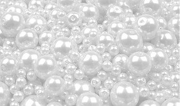 Korálky - Voskované perličky 50 g (biele) - 2884651