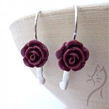 Náušnice - 672 - Náušnice mini ruže - tmavá bordovo-hnedá - 2885140