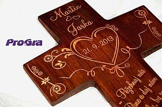 Dekorácie - Svadobný krížik pre snúbencov - 2889125