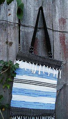 Kabelky - Tkaná taška modro-čierno-biela - 2900844
