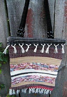 Kabelky - Tkaná taška pestrá bordová - 2900863