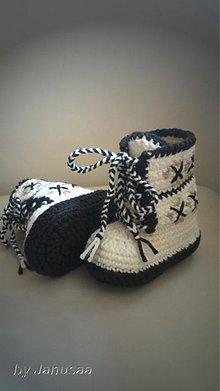 Topánočky - Háčkované čižmičky - šnurovacie hnedé - 2902518