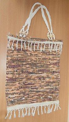 Kabelky - Tkaná taška  bielo-hnedá - 2903785