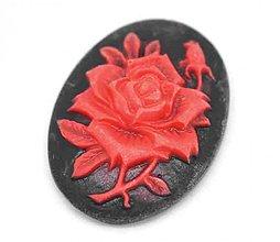 Komponenty - Kamej ruža/ červená na čiernom/ 25x18mm/ 1ks - 2909519