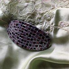 Ozdoby do vlasov - Mozaiková spona hnědo-béžová-stříbrná - 2911253