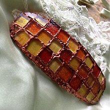Ozdoby do vlasov - Mozaiková spona zluto-oranžová - 2911485