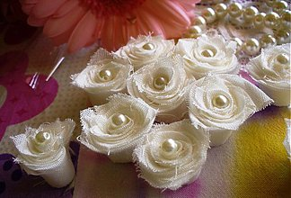 Materiál ručne robený - textilné čajové ružičky/ 10ks - 2917971