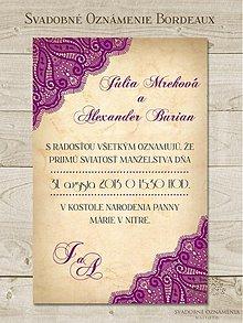 Papiernictvo - Svadobné oznámenie Bordeaux - 2918977