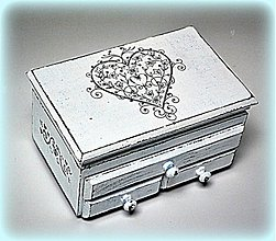 Krabičky - Ošúchané srdce v shabby chic - 2937958