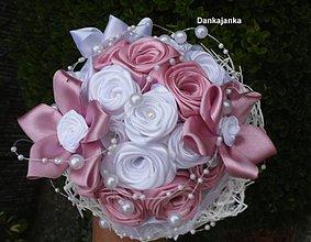Kytice pre nevestu - Ružovo-biela kytička - 2940912
