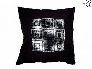 Úžitkový textil - _krétska mozaika v striebornej a čiernej - 2946053