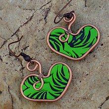 Náušnice - Zelené srdiečka - darček k objednávke - 2968896