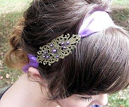Ozdoby do vlasov - Fialová vintage čelenka - 2973846