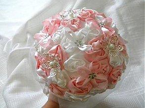 Kytice pre nevestu - ružovo-biela látková kytica - 2989346