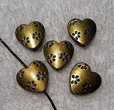 Korálky - Kov.srdce 14x14mm-st.mos-1ks - 3004218