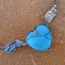 Náhrdelníky - Srdce s krídlami - tyrkenit - 3004282