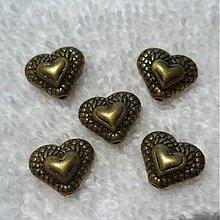 Korálky - Kov.srdce 10x11mm-st.mos-1ks - 3004290