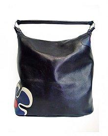 Kabelky - Kožená kabelka Maťka s modrým kvetom \
