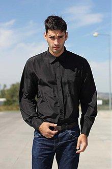 Košele - Čierna pánska košeľa - 3019317