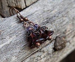Náušnice - Malé bordové zvončeky - 3021367