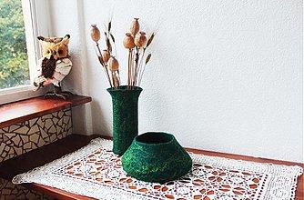Dekorácie - Plstená váza + miska v zelenom - 3027837
