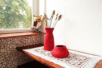 Dekorácie - Plstená váza + miska v červenom - 3027853