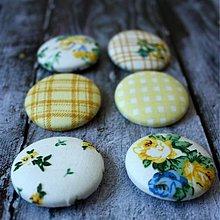 Materiál ručne robený - VÝPREDAJ!!! Vintage buttony v žltom 38 mm - 3038163