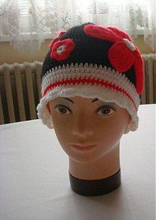 Detské čiapky - Čiapka s červenými kvetmi - 3039547