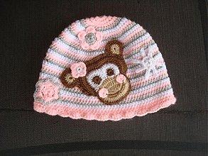 Detské čiapky - Čiapka s opičkou - 3056192