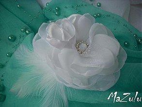 Ozdoby do vlasov - svadobná spona biela - 3068826