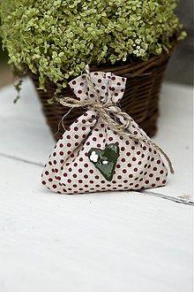 Darčeky pre svadobčanov - Vrecúško s červenými bodkami - 3078782