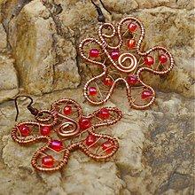 Náušnice - Kvetinky v červenom - 3083349