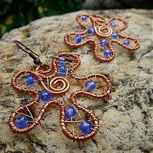 Náušnice - Kvetinky v modrom - 3083415