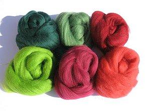Textil - Vlna na plstenie Merino - vianočná 60 g - 3086336
