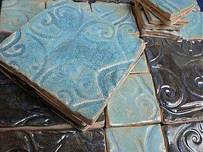 Dekorácie - Provence kachličky tyrkys se stříbrem - 3086880