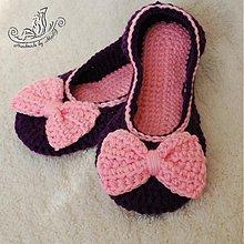 Obuv - Fialovo ružové háčkované balerínky - 3087475