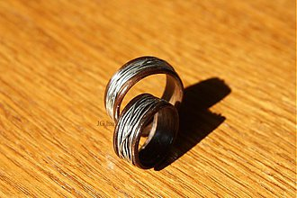 Prstene - Drevené obrúčky - so striebrom - 3087888