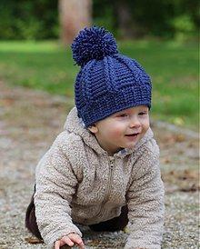 Detské čiapky - modrá brmbolcovka - 3090958