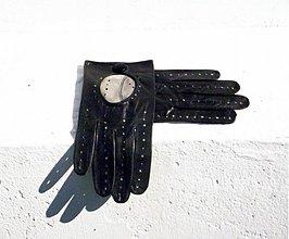 Doplnky - Černé pánské kožené řidičské rukavice - šoférky-celoroční - 3093266