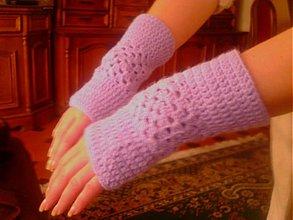 Rukavice - Hackovane navleky lila patchwork - 3094625