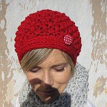 Čiapky - čiapka červená s bodkou:))) - 3097916