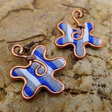 Náušnice - Modrá, strieborná a biela - 3104124