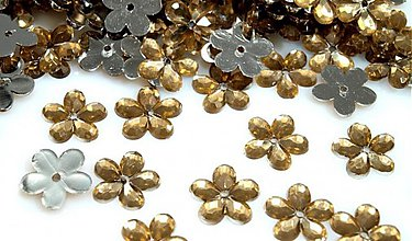 Galantéria - kvetina plast zlato hnedá - 3106544