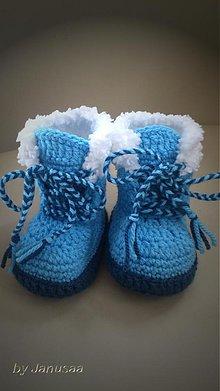Topánočky - Háčkované čižmičky - s kožušinkou - 3108777