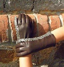 Rukavice - Hnědé safari - dámské kožené rukavice s hedvábnou podšívkou - celoroční - 3112875