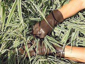 Rukavice - Hnědé dámské kožené rukavice s vlněnou podšívkou - 3118964