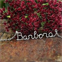 Náhrdelníky - Náhrdelník s menom z postriebreného drôtu: 6-8 písmen (Barbora) - 3126541