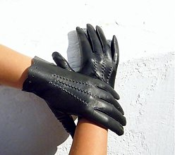 Rukavice - Černé dámské kožené rukavice bezpodšívkové - 3137558