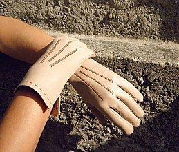 Rukavice - Béžové dámské kožené rukavice bezpodšívkové - 3137749