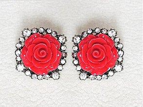 Náušnice - červené ruže - 3144152